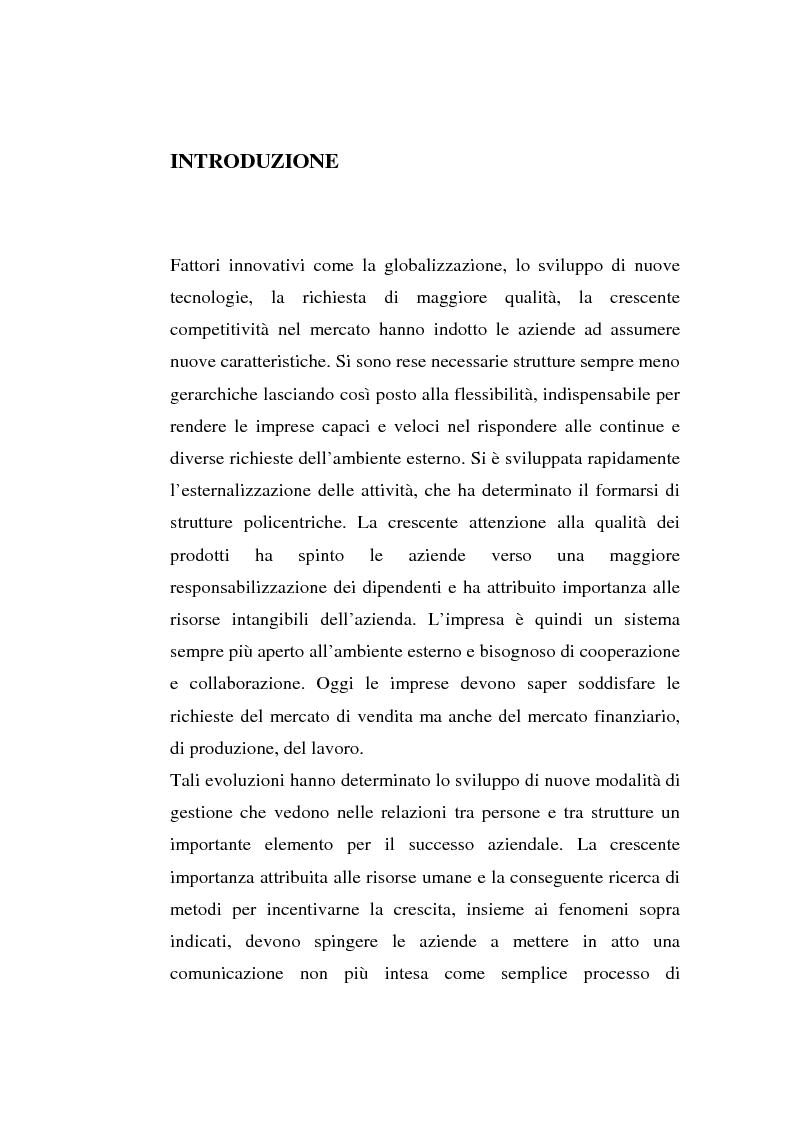 Anteprima della tesi: La comunicazione organizzativa: teorie e condizioni di realizzazione nelle imprese italiane, Pagina 1