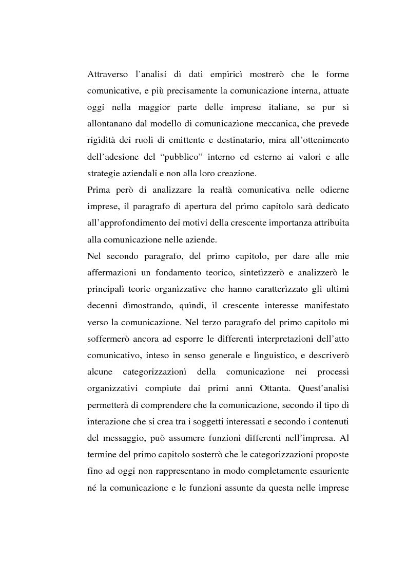 Anteprima della tesi: La comunicazione organizzativa: teorie e condizioni di realizzazione nelle imprese italiane, Pagina 3
