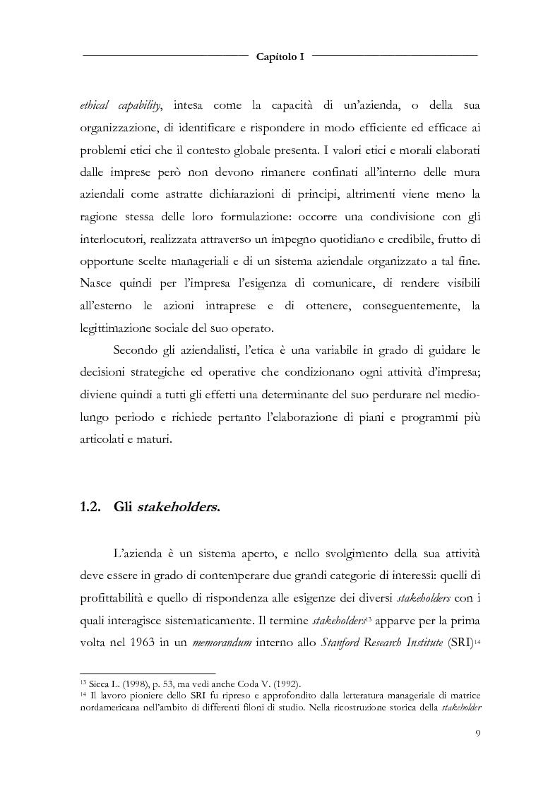 Anteprima della tesi: Responsabilità sociale d'impresa e bilancio sociale nelle aziende di credito, Pagina 11