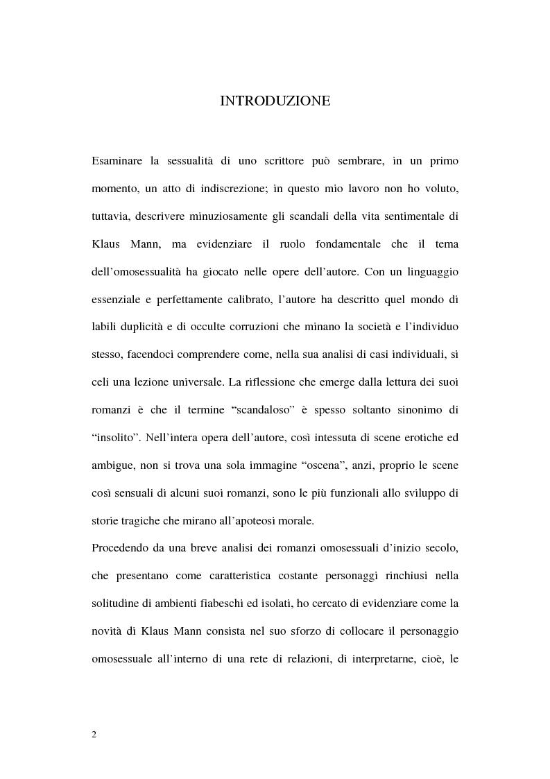 Anteprima della tesi: L'ombra di Klaus Mann, Pagina 1