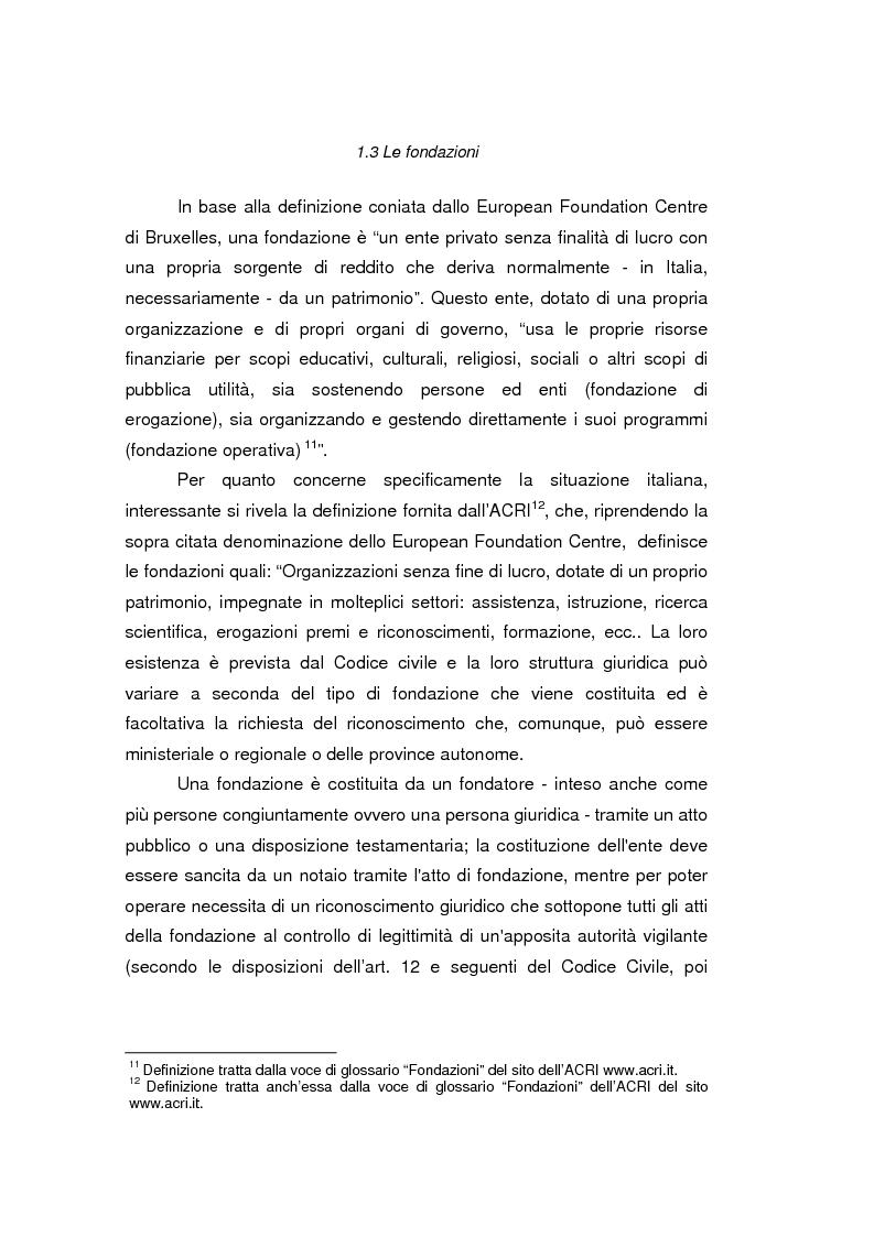 Anteprima della tesi: Fondazioni bancarie e attività culturali. Il caso Fondazione Cassamarca di Treviso, Pagina 12