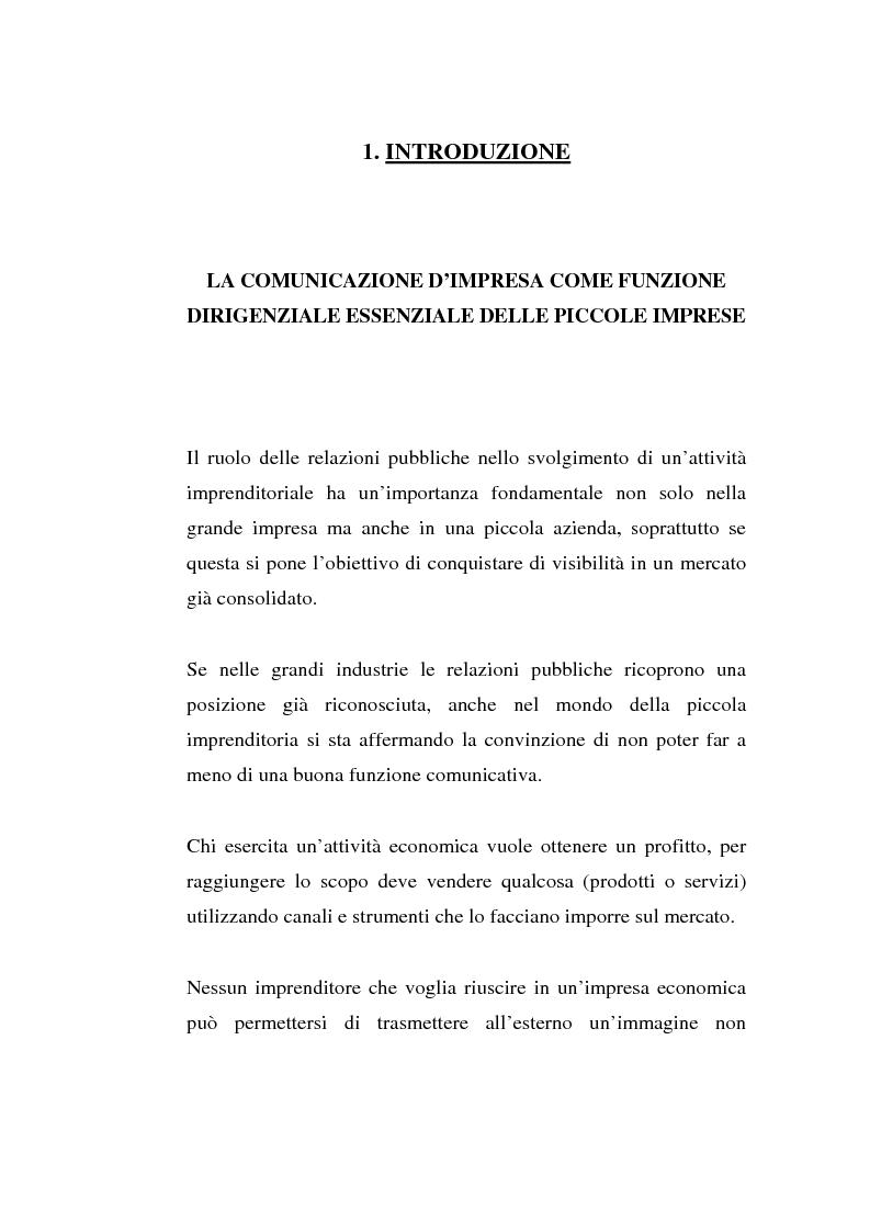 Anteprima della tesi: Alla ricerca di visibilità: la comunicazione delle piccole imprese, Pagina 1