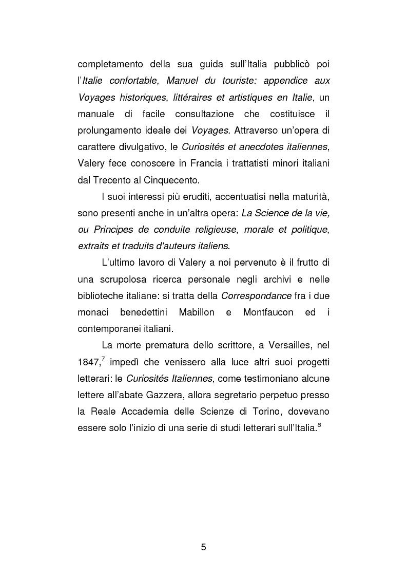 Anteprima della tesi: La versione interfoliata dei ''Voyages historiques, litteraries et artistiques en Italie'' di Antoine-Claude Pasquin Valery, Pagina 8