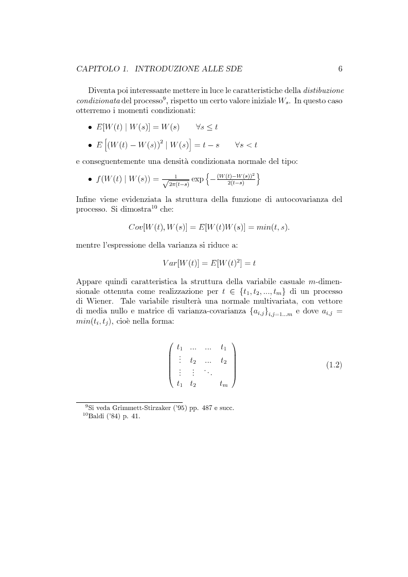 Anteprima della tesi: Il problema della stima nelle equazioni differenziali stocastiche: un approccio operativo, Pagina 5