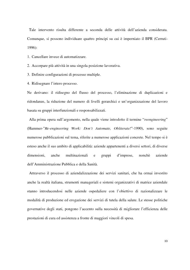 Anteprima della tesi: Business process reengineering: il caso delle aziende ospedaliere, Pagina 2