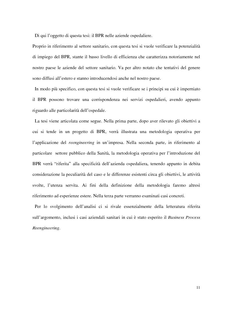 Anteprima della tesi: Business process reengineering: il caso delle aziende ospedaliere, Pagina 3