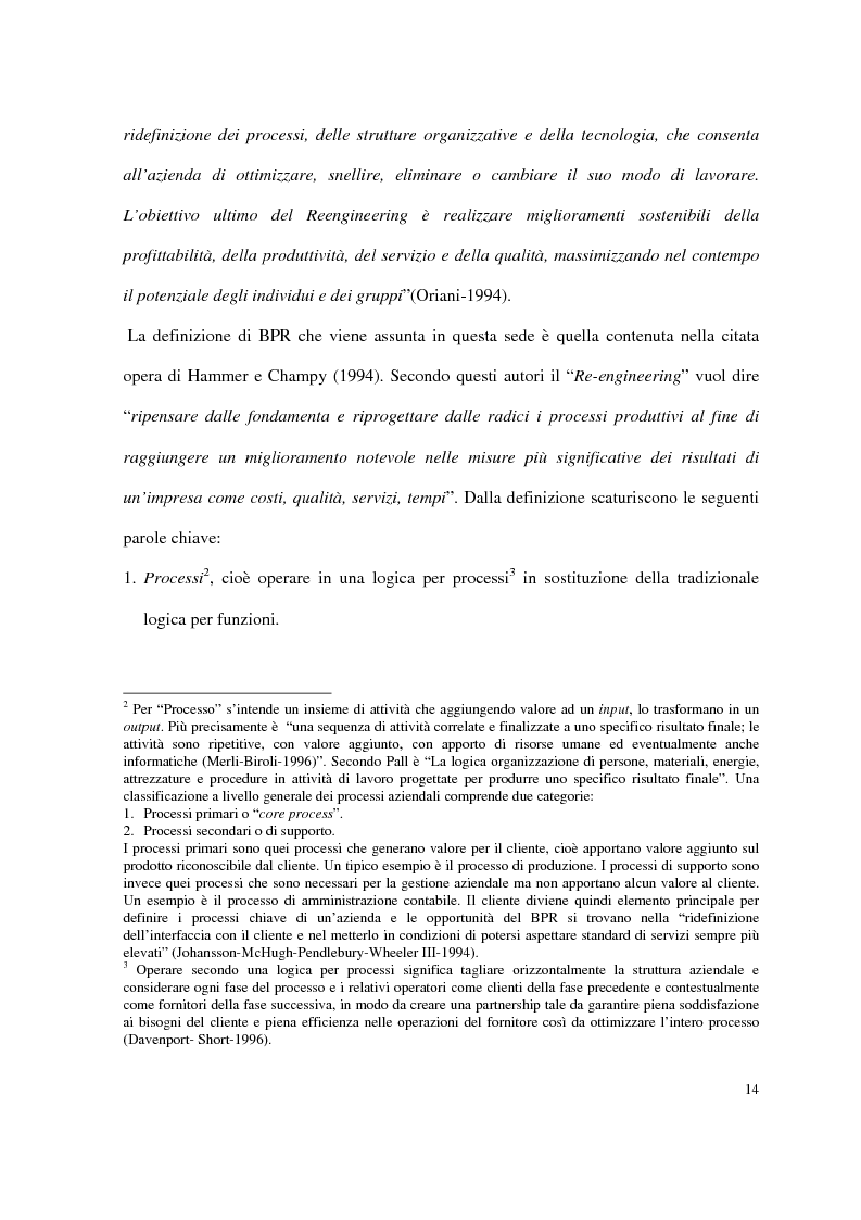 Anteprima della tesi: Business process reengineering: il caso delle aziende ospedaliere, Pagina 6