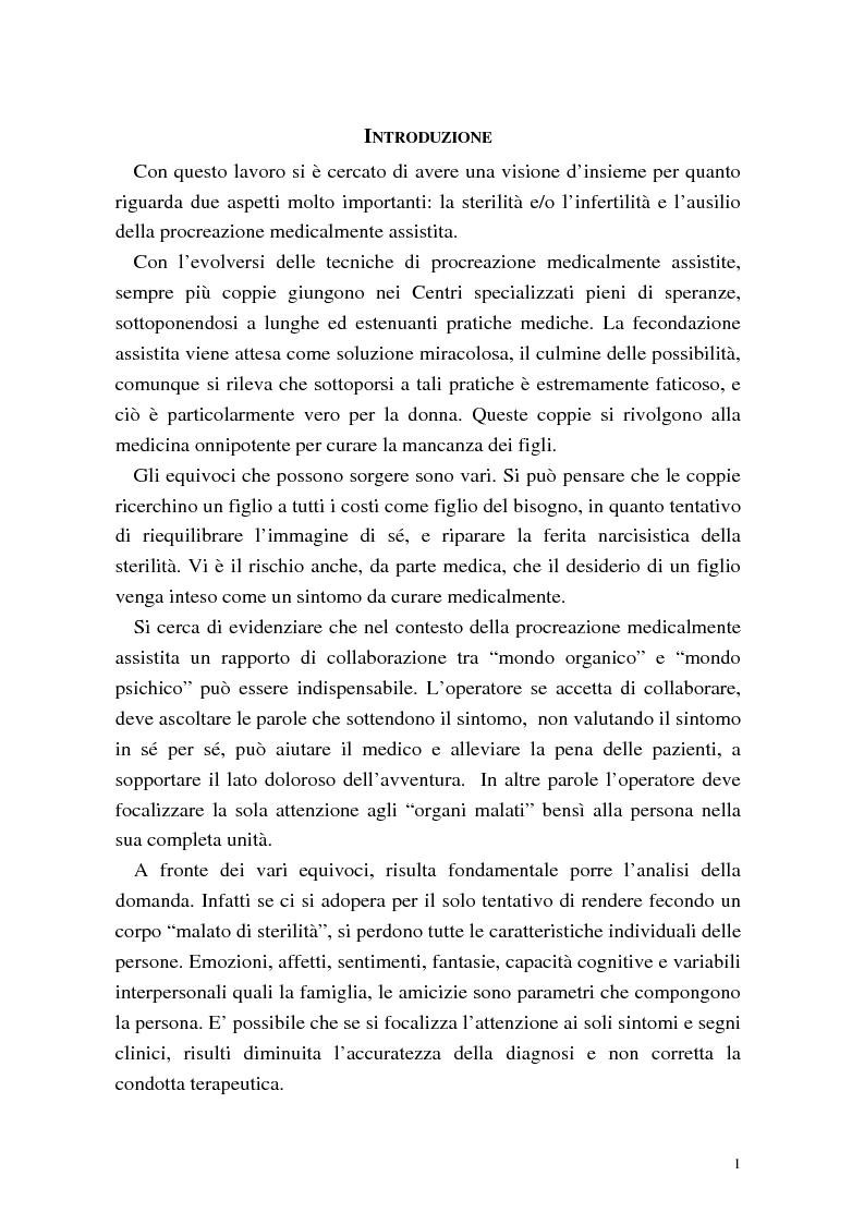 Anteprima della tesi: La procreazione medicalmente assistita: aspetti psicologici e sessuali, Pagina 1