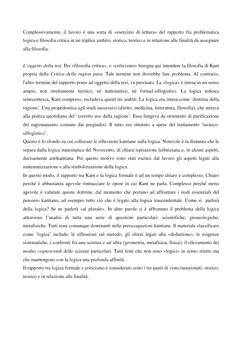 Anteprima della tesi: La logica formale e l'elaborazione del criticismo, Pagina 2
