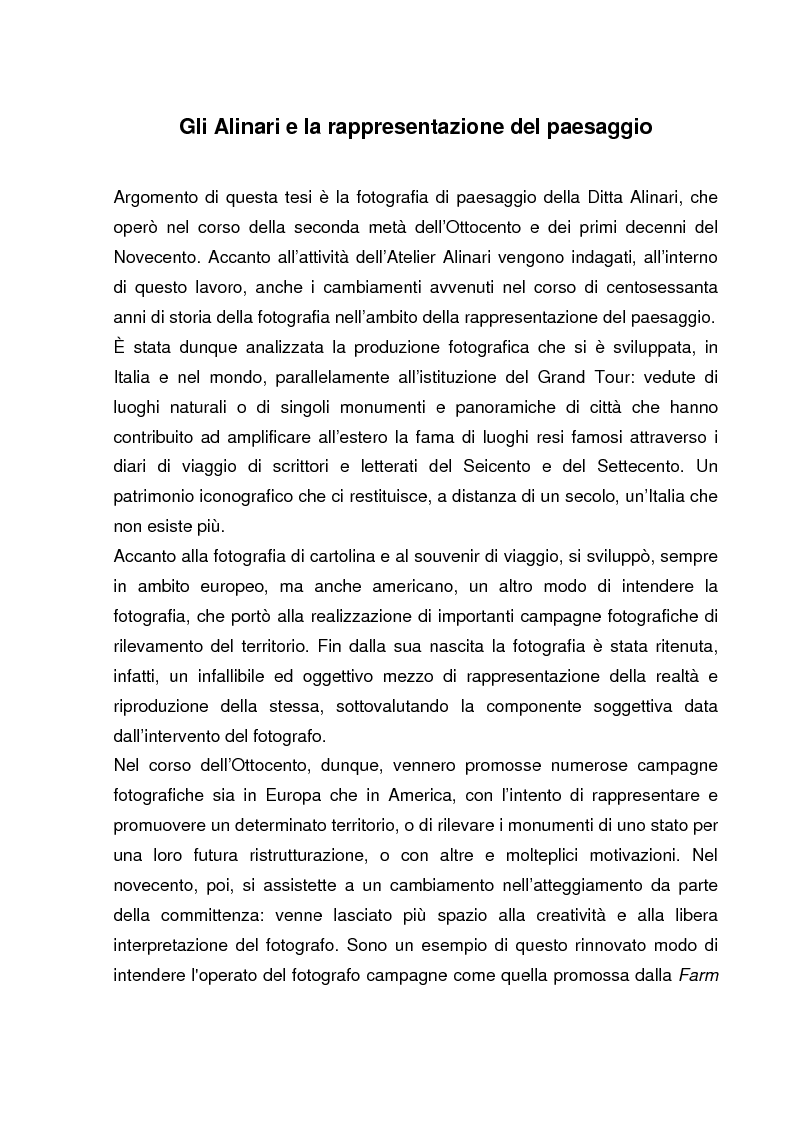 Anteprima della tesi: Gli Alinari e la rappresentazione del paesaggio, Pagina 2