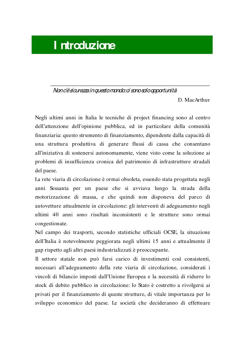 Anteprima della tesi: L'uso delle opzioni reali nella risk allocation della finanza di progetto: il caso degli investimenti su infrastrutture autostradali, Pagina 1