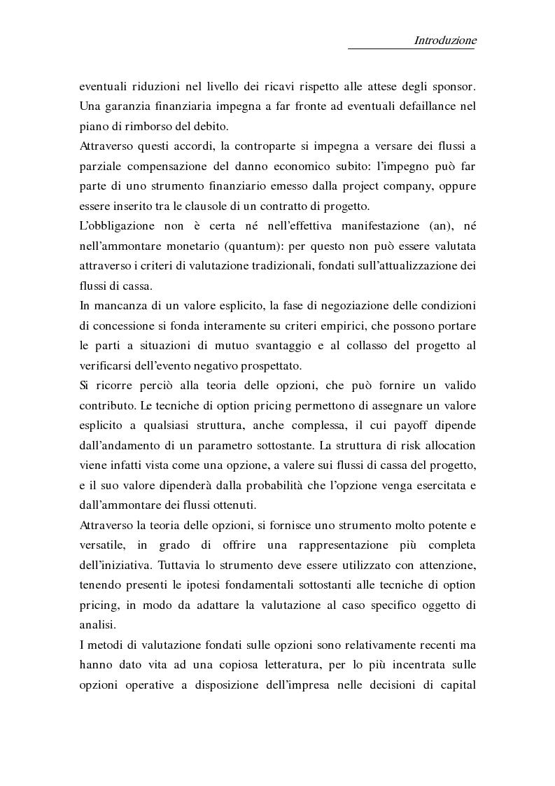 Anteprima della tesi: L'uso delle opzioni reali nella risk allocation della finanza di progetto: il caso degli investimenti su infrastrutture autostradali, Pagina 3