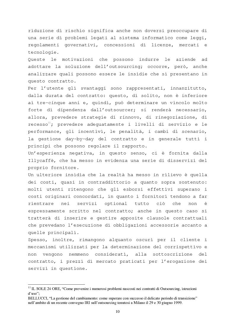 Anteprima della tesi: Il contratto di outsourcing, Pagina 10