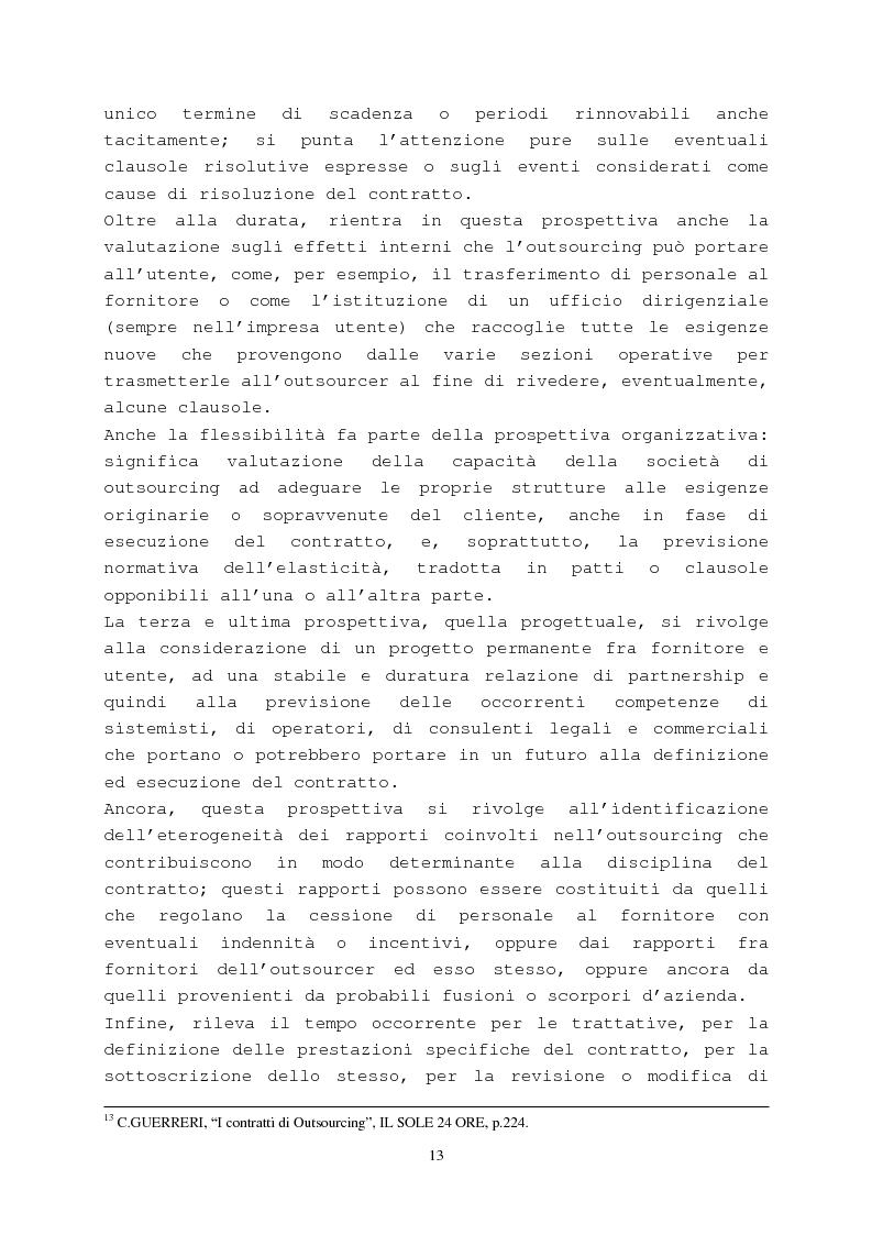 Anteprima della tesi: Il contratto di outsourcing, Pagina 13