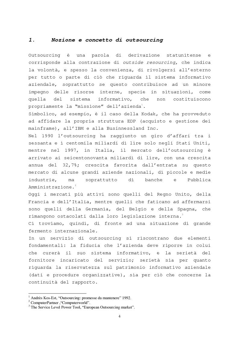 Anteprima della tesi: Il contratto di outsourcing, Pagina 4