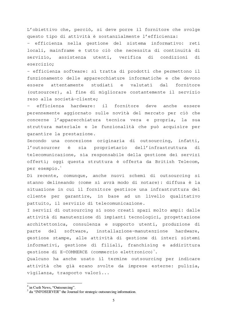 Anteprima della tesi: Il contratto di outsourcing, Pagina 5