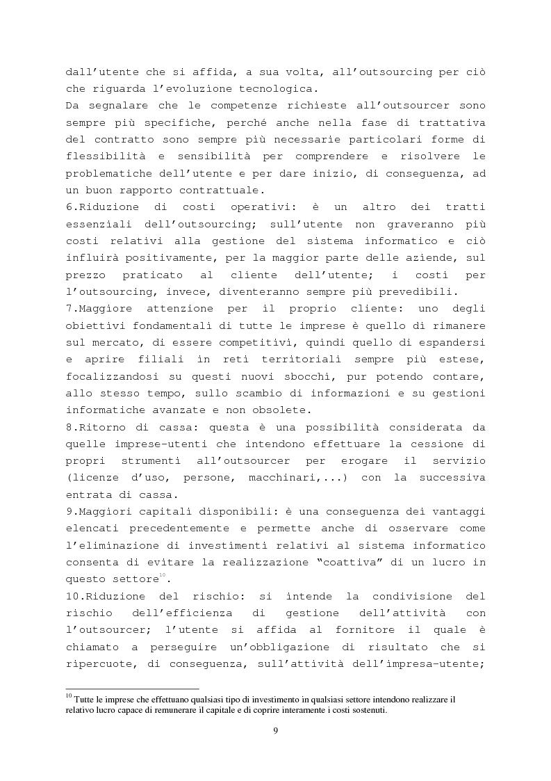 Anteprima della tesi: Il contratto di outsourcing, Pagina 9