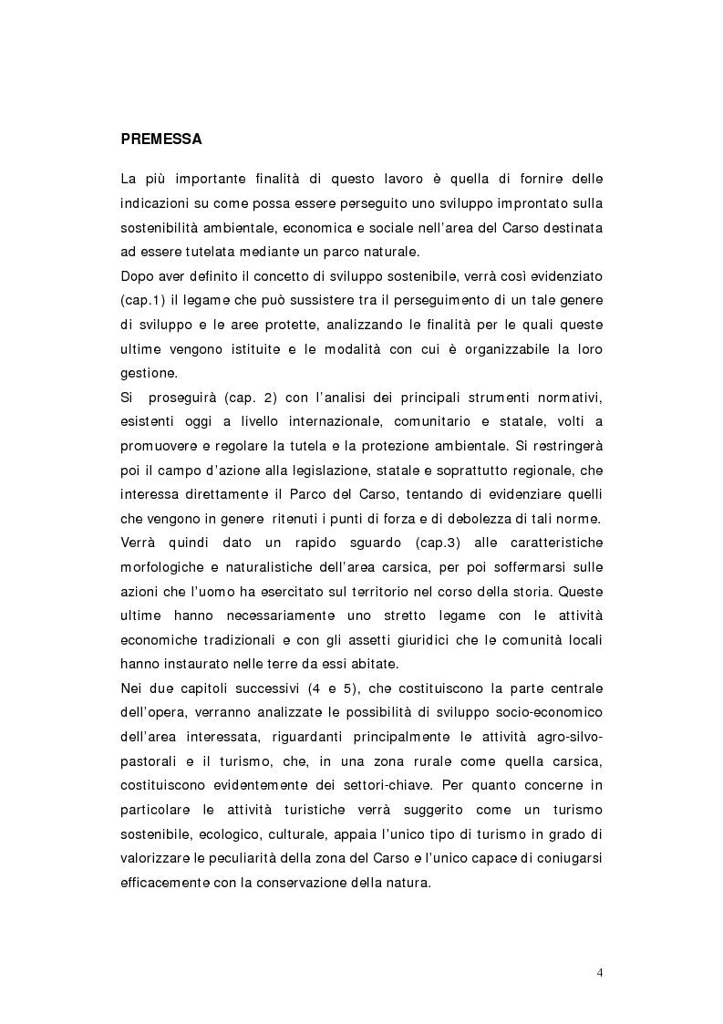 Anteprima della tesi: L'area protetta quale laboratorio di sostenibilità: il caso dell'istituendo Parco del Carso, Pagina 1