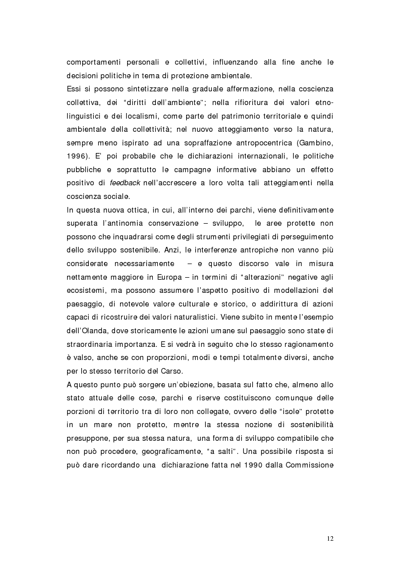 Anteprima della tesi: L'area protetta quale laboratorio di sostenibilità: il caso dell'istituendo Parco del Carso, Pagina 9