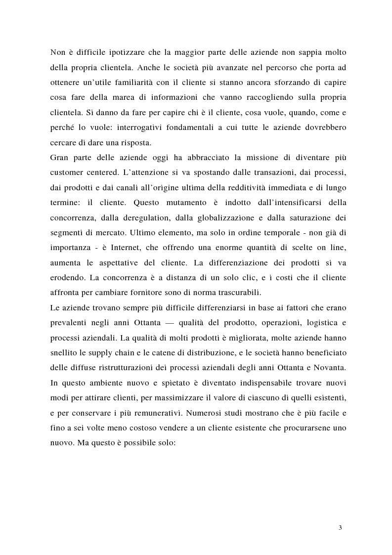 Anteprima della tesi: Crm: quando il successo dell'impresa passa per la conoscenza del cliente, Pagina 3