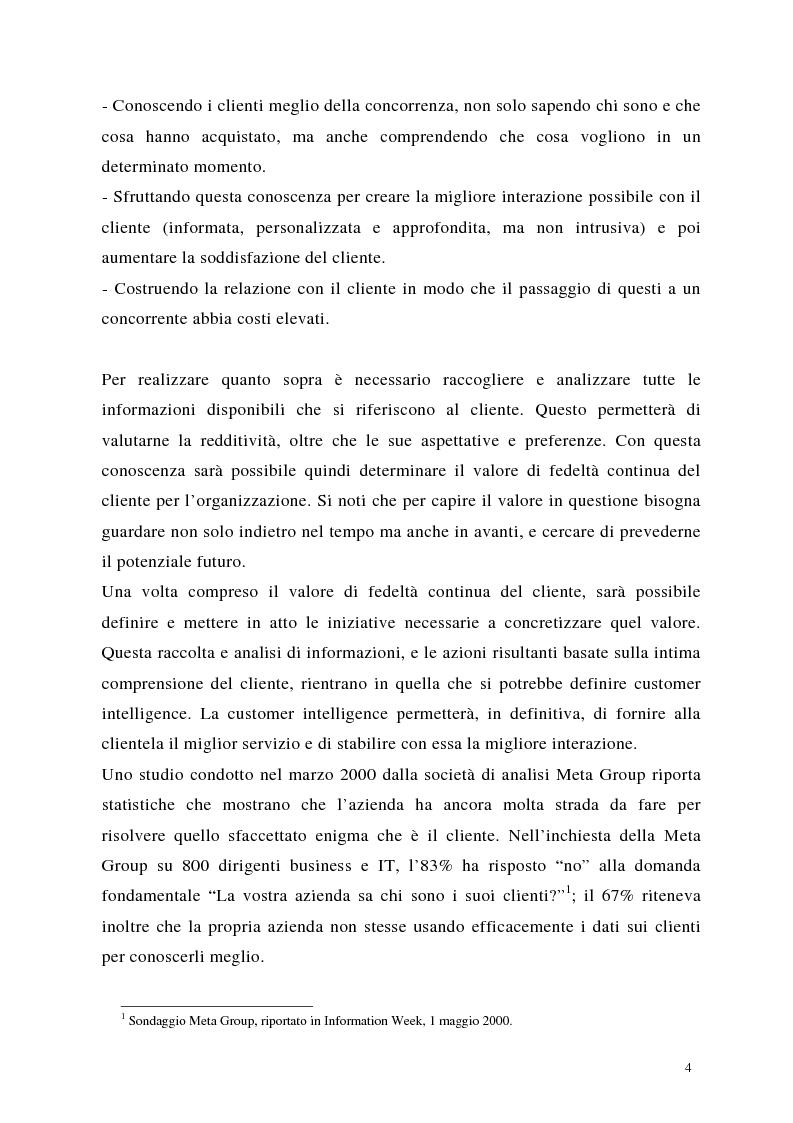 Anteprima della tesi: Crm: quando il successo dell'impresa passa per la conoscenza del cliente, Pagina 4