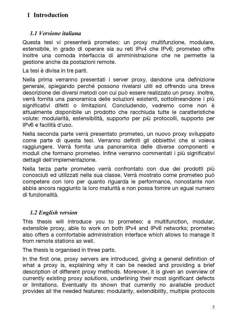 Anteprima della tesi: Studio e realizzazione di un servizio proxy multifunzione modulare, Pagina 1