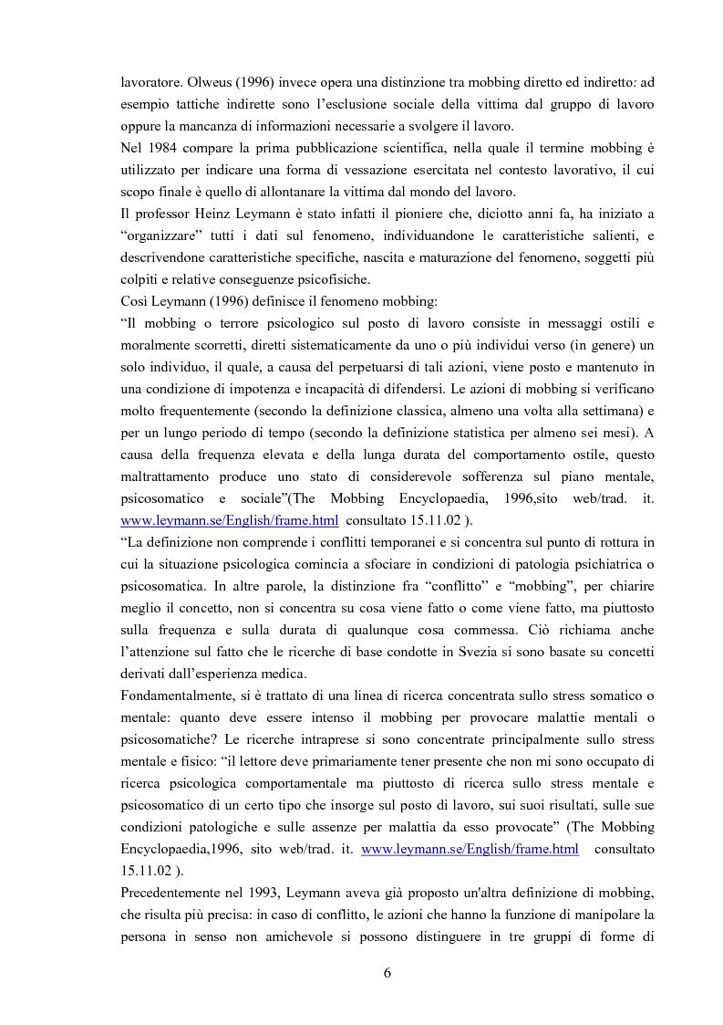 Anteprima della tesi: Il mobbing - Aspetto psicologico, sociale e legale, Pagina 4