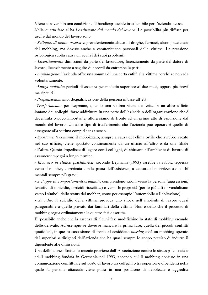 Anteprima della tesi: Il mobbing - Aspetto psicologico, sociale e legale, Pagina 6