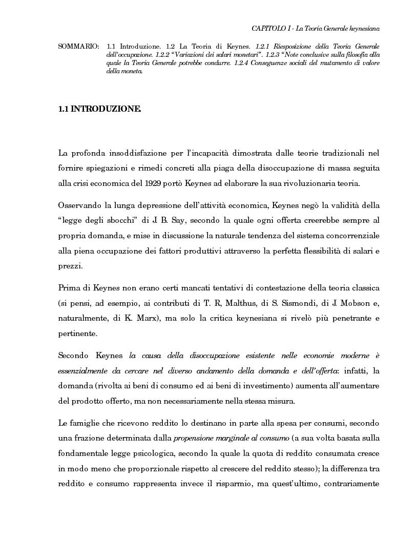 Anteprima della tesi: La teoria generale di Keynes: alcune reinterpretazioni ed attualità, Pagina 9