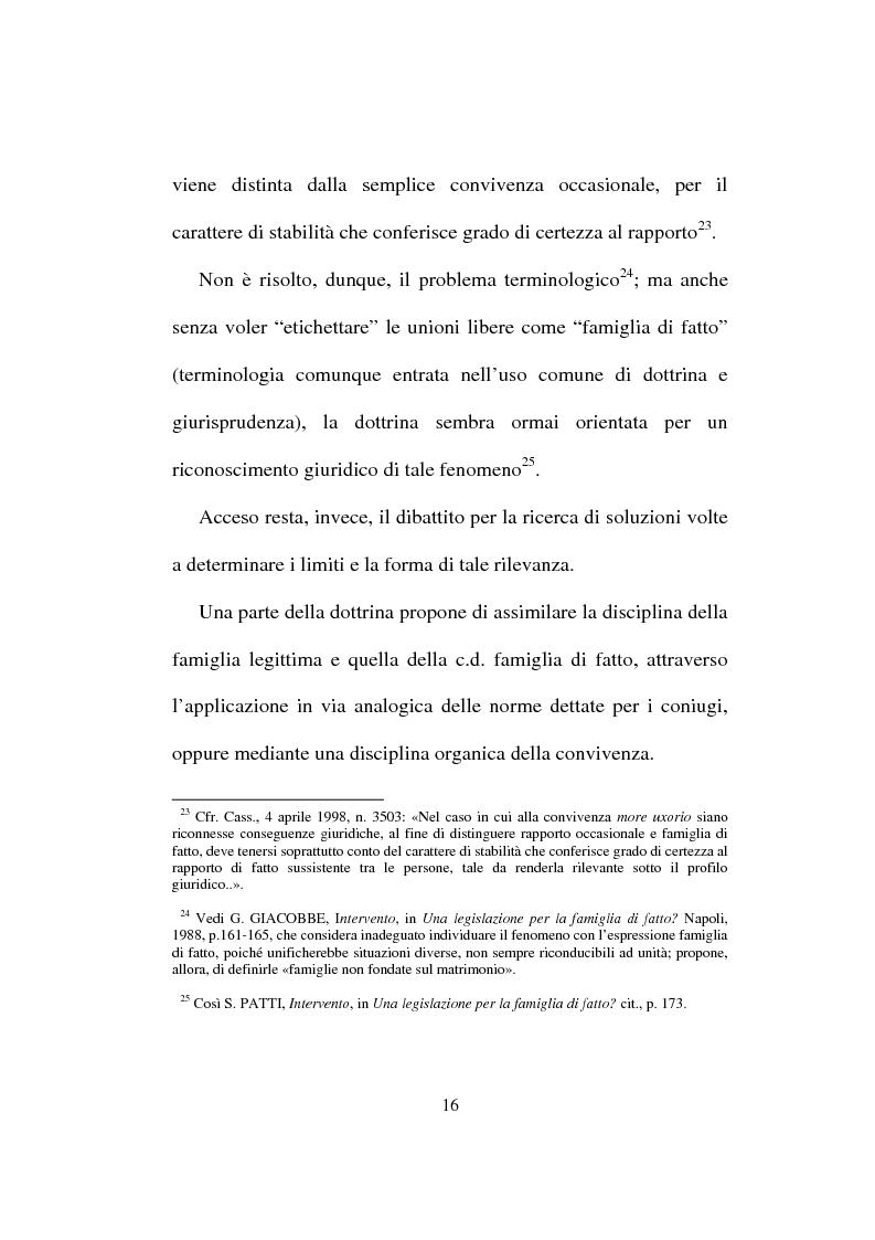 Anteprima della tesi: I diritti del convivente more uxorio: la disciplina normativa, Pagina 13