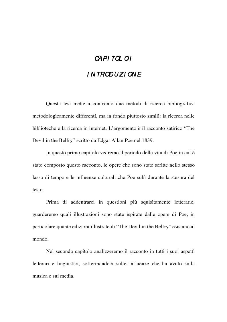 Anteprima della tesi: ''The Devil in the Belfry'' di E. A. Poe dalla carta a Internet, Pagina 1