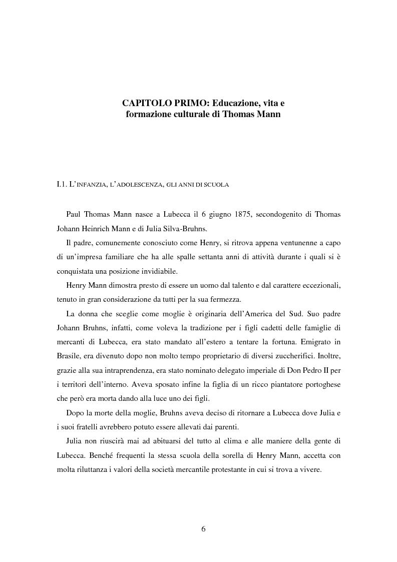 Anteprima della tesi: La formazione dell'uomo nelle opere di Thomas Mann, Pagina 2