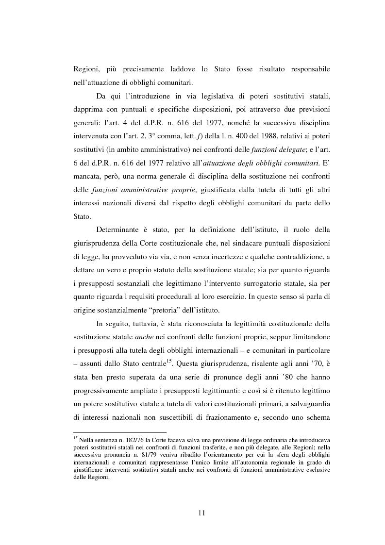 Anteprima della tesi: Il potere sostitutivo dopo la riforma del titolo V della parte seconda della Costituzione, Pagina 11