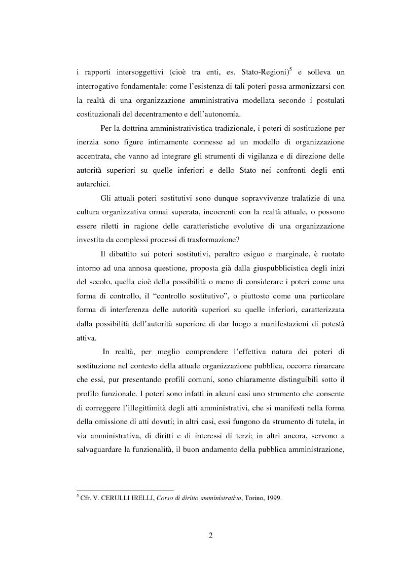 Anteprima della tesi: Il potere sostitutivo dopo la riforma del titolo V della parte seconda della Costituzione, Pagina 2