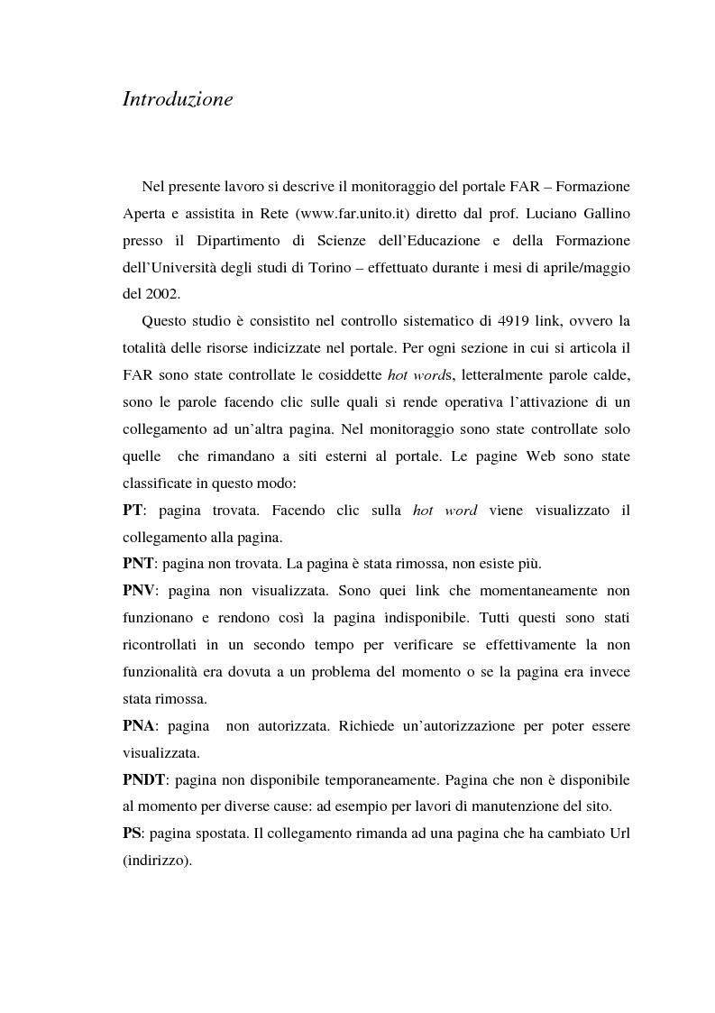 Anteprima della tesi: Il monitoraggio di un importante portale sulla formazione assistita dalla rete: il Far, Pagina 1