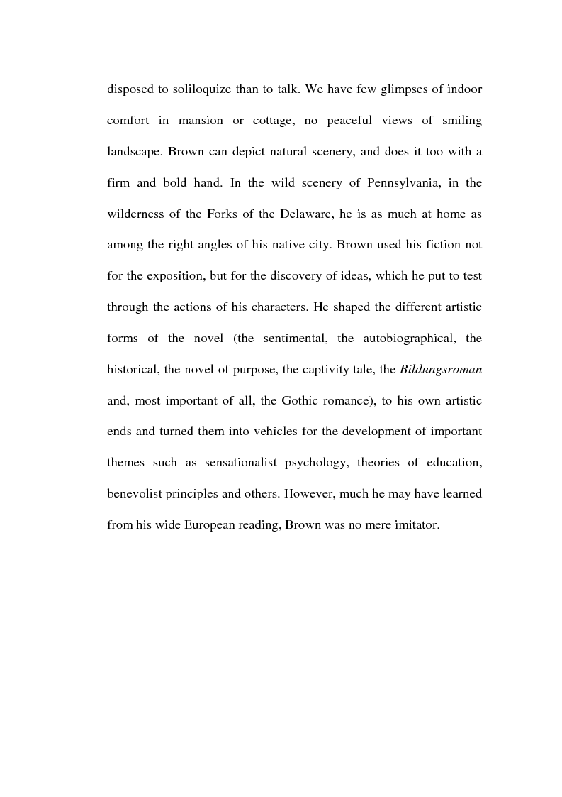 Anteprima della tesi: Charles Brockden Brown's Edgar Huntly: Sleepwalking through the Wildeness, Pagina 11