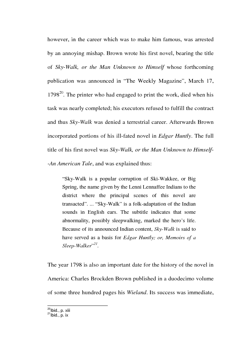Anteprima della tesi: Charles Brockden Brown's Edgar Huntly: Sleepwalking through the Wildeness, Pagina 9