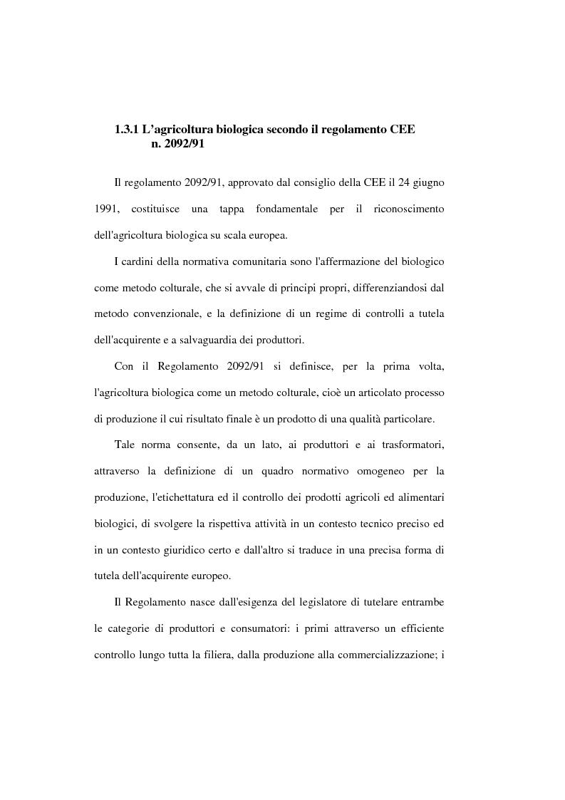 Anteprima della tesi: Il settore biologico: un'analisi delle aziende agricole nella comunita montana ''calore salernitano'', Pagina 12