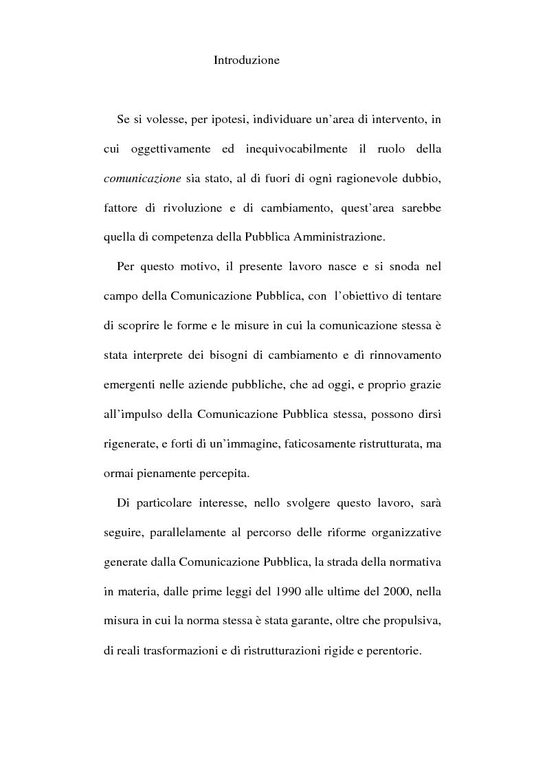 Anteprima della tesi: Sinergie tra ufficio stampa e ufficio relazioni con il pubblico nella comunicazione della pubblica amministrazione, Pagina 1
