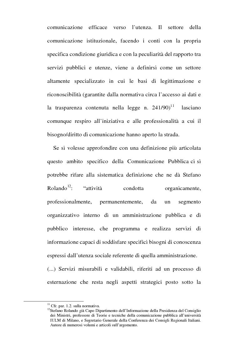 Anteprima della tesi: Sinergie tra ufficio stampa e ufficio relazioni con il pubblico nella comunicazione della pubblica amministrazione, Pagina 13