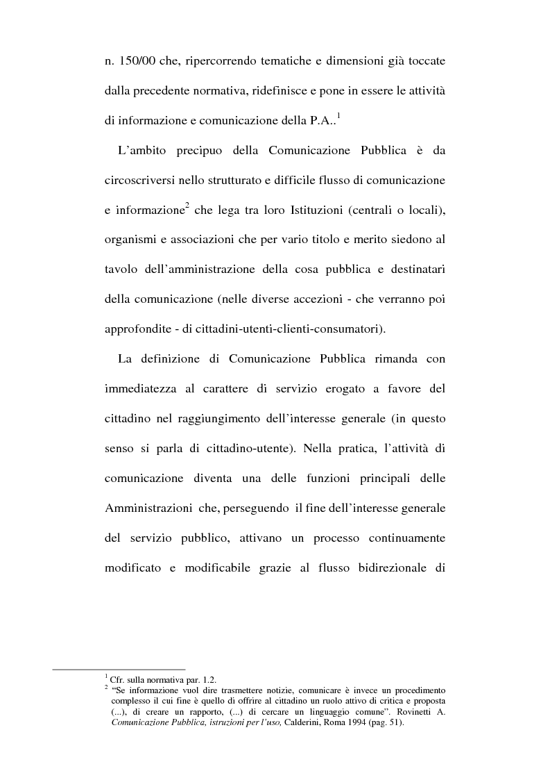 Anteprima della tesi: Sinergie tra ufficio stampa e ufficio relazioni con il pubblico nella comunicazione della pubblica amministrazione, Pagina 8
