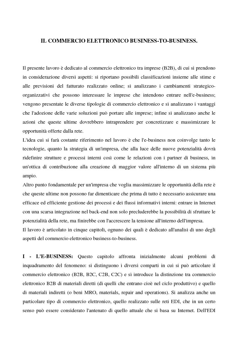 Anteprima della tesi: Il commercio elettronico business to business, Pagina 1