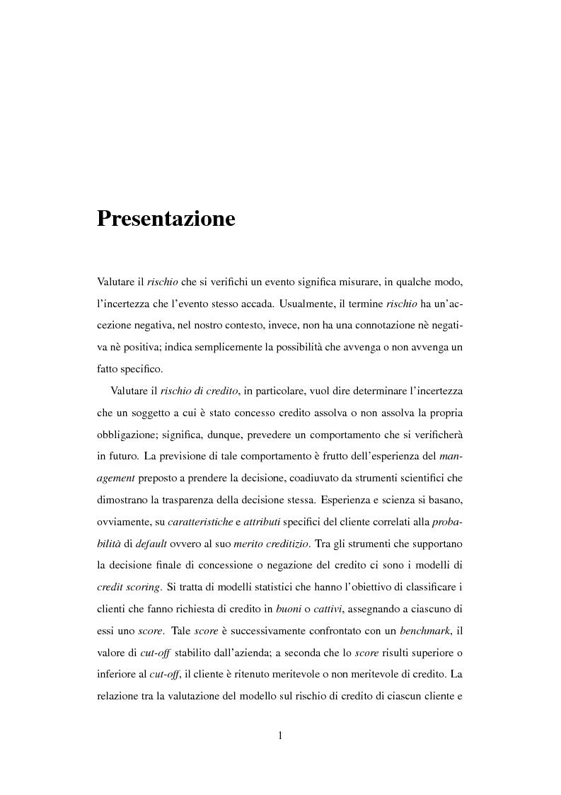 Anteprima della tesi: Discriminazione logistica per la valutazione del rischio di credito, Pagina 1