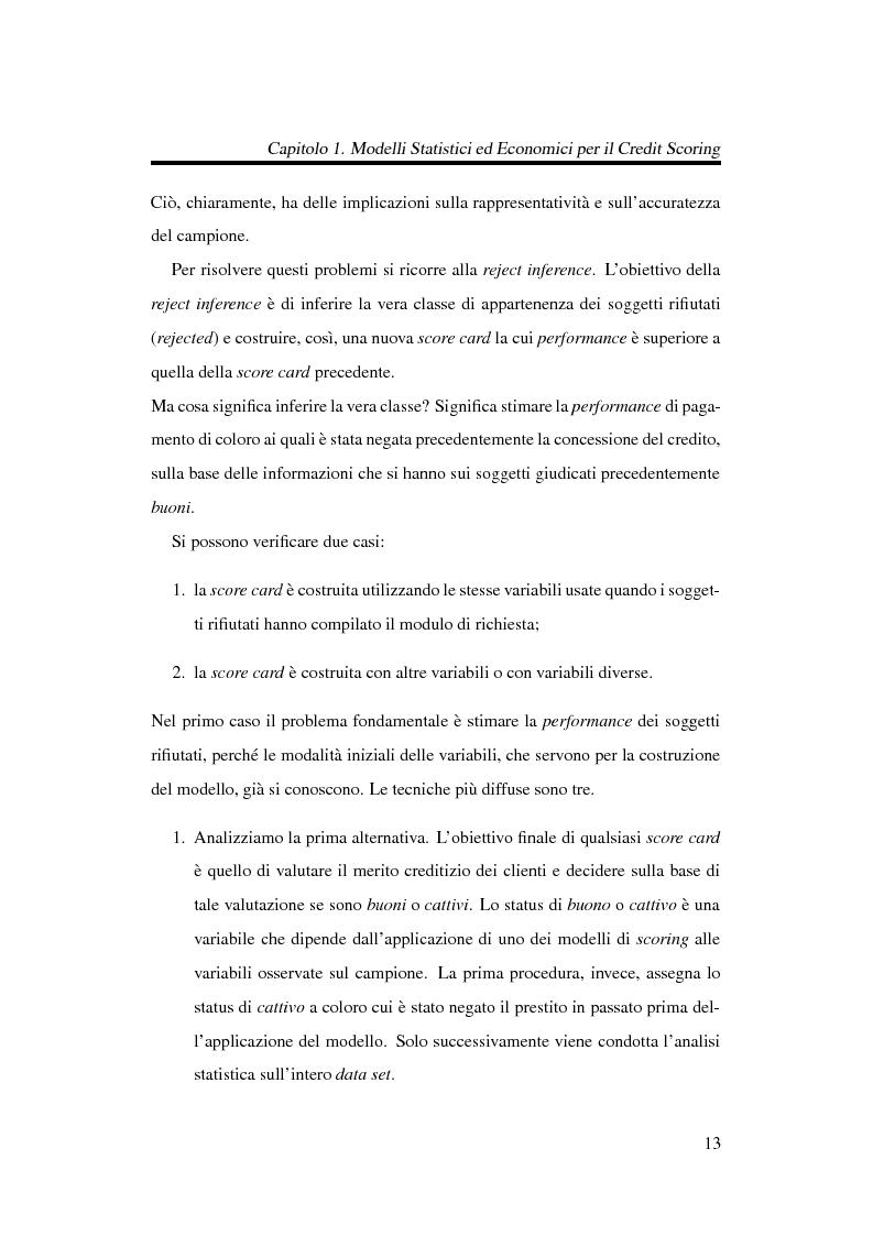 Anteprima della tesi: Discriminazione logistica per la valutazione del rischio di credito, Pagina 13