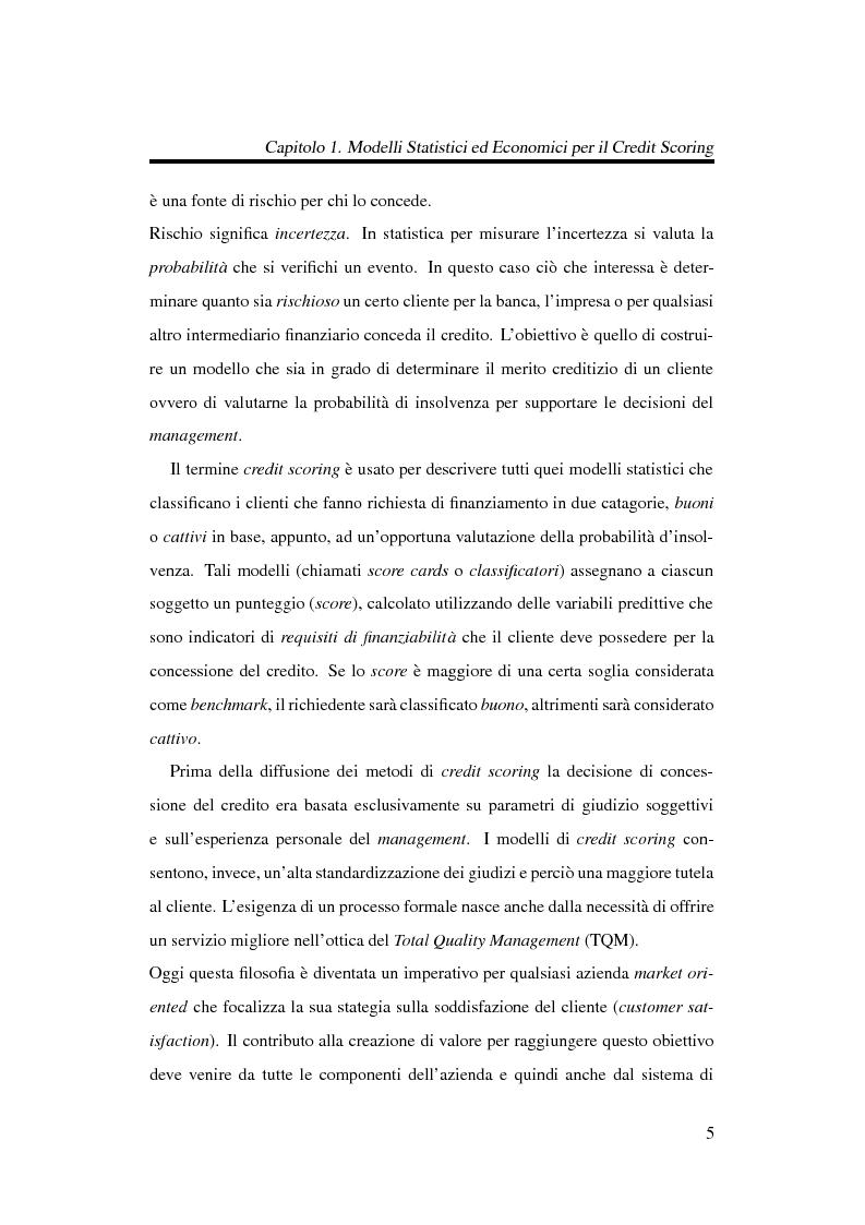 Anteprima della tesi: Discriminazione logistica per la valutazione del rischio di credito, Pagina 5