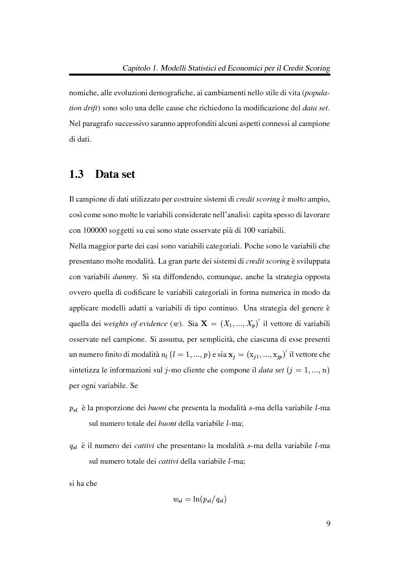 Anteprima della tesi: Discriminazione logistica per la valutazione del rischio di credito, Pagina 9