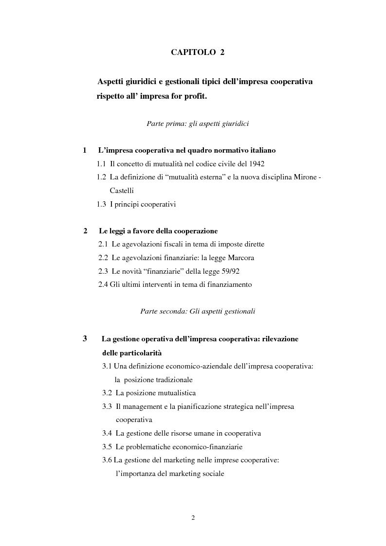 Indice della tesi: Gli aspetti economici dell'impresa cooperativa e le sue potenzialità di sviluppo nel Mezzogiorno: il caso della cooperativa ''Giustizia e libertà'', Pagina 2