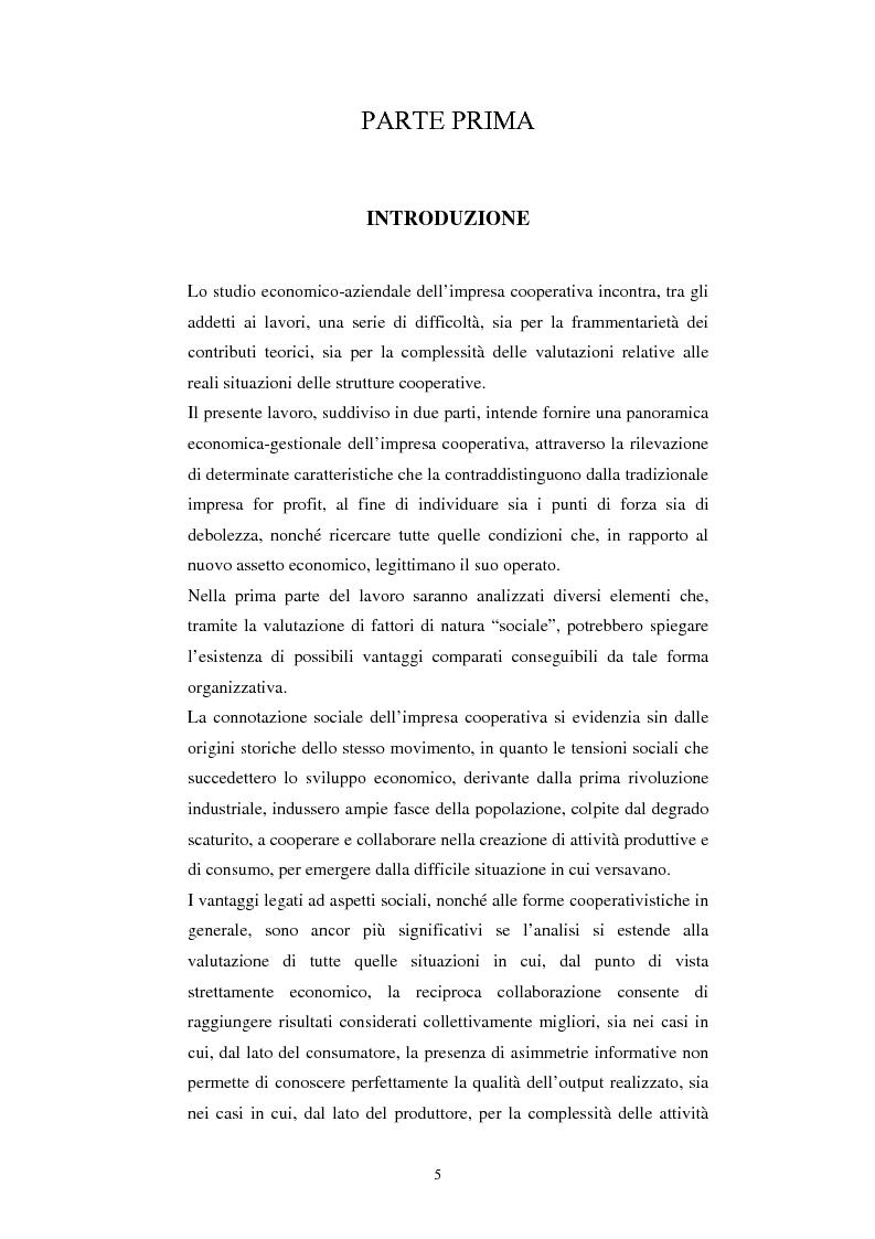 Anteprima della tesi: Gli aspetti economici dell'impresa cooperativa e le sue potenzialità di sviluppo nel Mezzogiorno: il caso della cooperativa ''Giustizia e libertà'', Pagina 1