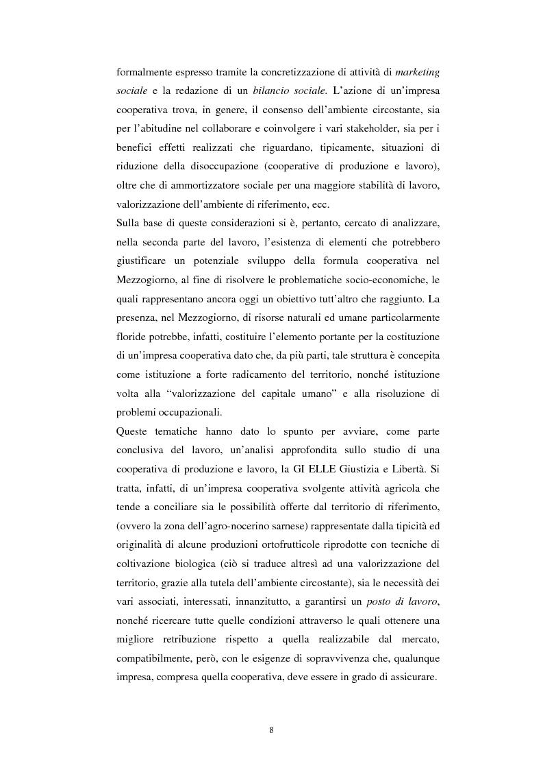 Anteprima della tesi: Gli aspetti economici dell'impresa cooperativa e le sue potenzialità di sviluppo nel Mezzogiorno: il caso della cooperativa ''Giustizia e libertà'', Pagina 4