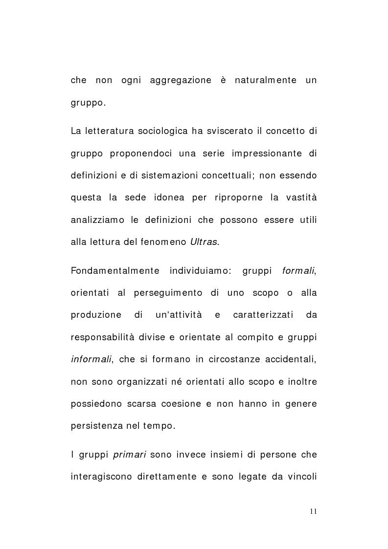 Anteprima della tesi: Tifo e tifosi. Il panorama ultras, Pagina 9